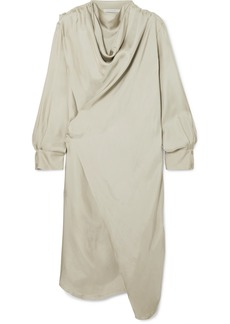 Low Classic Draped Satin Wrap Dress