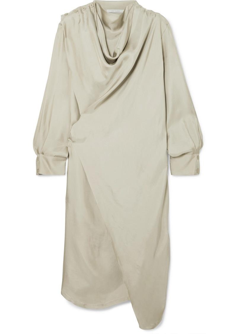 Draped Satin Wrap Dress