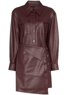 Low Classic faux leather apron-front shirt dress