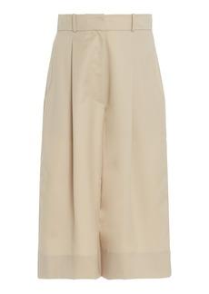 Low Classic - Women's Pleated Wool Knee-Length Shorts - Neutral - Moda Operandi