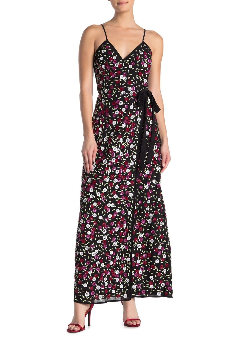 LPA 138 Floral Sequin Wrap Maxi Dress