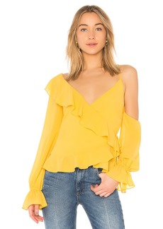 LPA Asymmetrical Ruffle Wrap Top