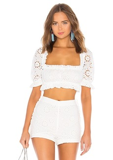 LPA Cropped Peasant Top With Puff Sleeves