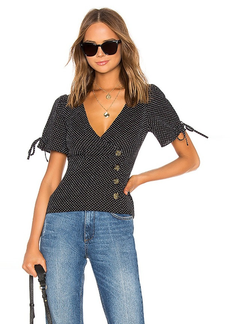 LPA Fitted Button Up Top With Puff Sleeves