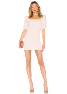 LPA Smocked Dress With Puff Sleeve
