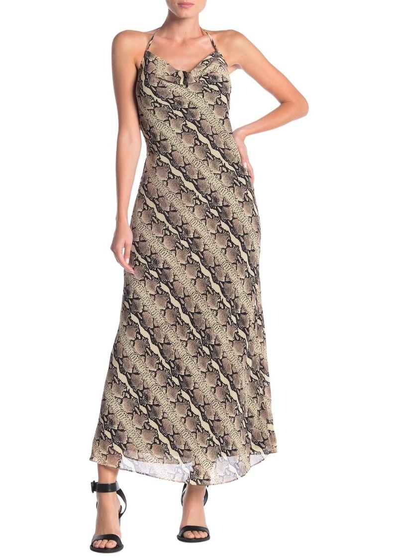 LPA Reptile Cowl Neck Maxi Dress