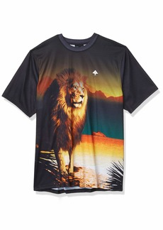 LRG Lifted Research Group Men's Daybreak Lion Logo Knit T-Shirt  M