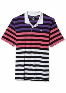 LRG Lifted Research Group Men's Rasta Striped Polo Shirt  M