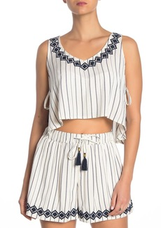 L*Space Bridget Striped Embroidered Side Tie Crop Top