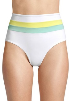 L*Space Colorblock Portia Striped High-Rise Bikini Bottoms