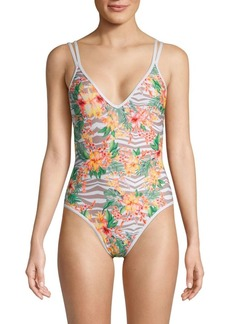 L*Space Dakota Zebra & Floral Print One-Piece