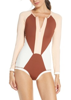 L*Space L Space Mod Front Zip Long Sleeve One-Piece Swimsuit