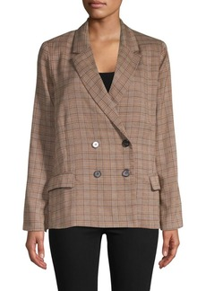Lucca Couture Blake Double-Breasted Plaid Blazer