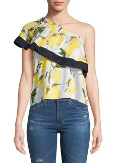 Lucca Couture Jacqueline Lemon-Print One-Shoulder Top