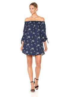 Lucca Couture Women's Eliana Floral Print Off The Shoulder Tie Sleeve Dress
