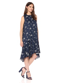 Lucca Couture Women's Floral Print Addison Sleeveless Midi Dress Navy