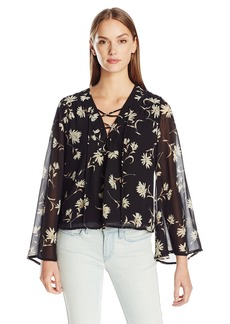 Lucca Couture Women's Floral Print Lace up Bell Sleeve Top Black Daisy