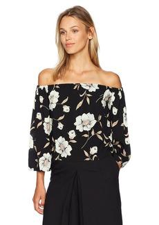 Lucca Couture Women's Floral Print Lauren 3/4 Sleeve Off The Shoulder Top Black Large
