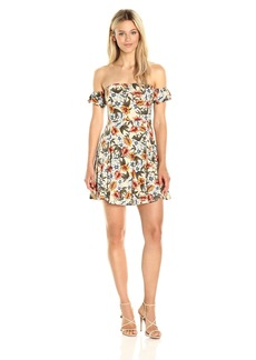 Lucca Couture Women's Floral Print Off Shoulder Knit Dress Beige + Coral