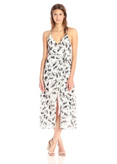 Lucca Couture Women's Floral Print Sleeveless Midi Wrap Dress