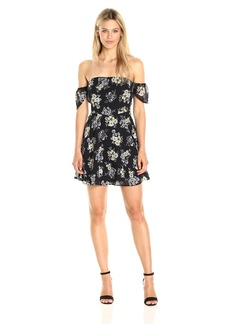 Lucca Couture Women's Floral Print Sweetheart Off Shoulder Dress Black+Light Blue