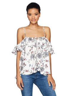 Lucca Couture Women's Front Lace up Cold Shoulder Ruffle Top