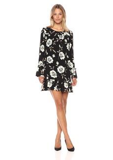 Lucca Couture Women's Gemma Floral Print Long Sleeve Shift Dress