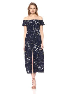 Lucca Couture Women's Giselle Ruffle Overlay Button Front Maxi
