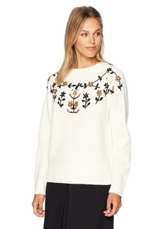 Lucca Couture Women's Heidi Sweater with Floral Embroidery
