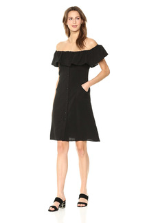 Lucca Couture Women's Josephine OTS Ruffle Button Front Dress  Extra Small