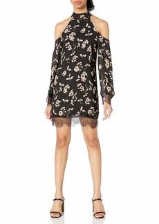 Lucca Couture Women's Lace Trim Cold Shoulder Dress