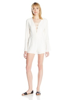 Lucca Couture Women's Long Sleeve Cross-Front Detail Romper