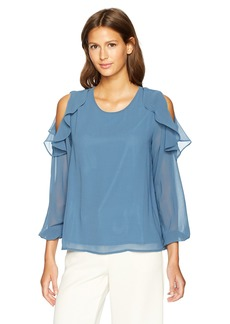 Lucca Couture Women's Long Sleeve Slit Shoulder Ruffle Top