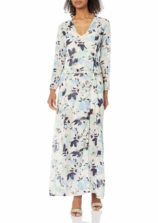 Lucca Couture Women's Long Sleeve Wrap Dress W/Slip