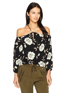 Lucca Couture Women's Louise Floral Print Cold Shoulder Top Black Large