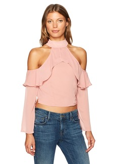 Lucca Couture Women's Mia Cold Shoulder Ruffle Top