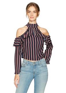 Lucca Couture Women's Mia Cold Shoulder Stripe Ruffle Top RWB Stripe