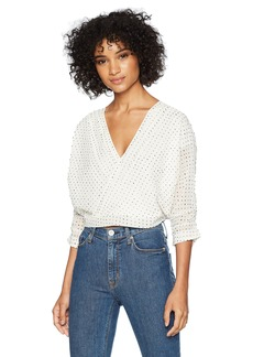 Lucca Couture Women's Nicole Surplice Top w/Pintuck SLV Detail White dot