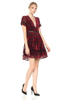 Lucca Couture Women's Nora Low V-Neck Velvet Floral Print Dress red