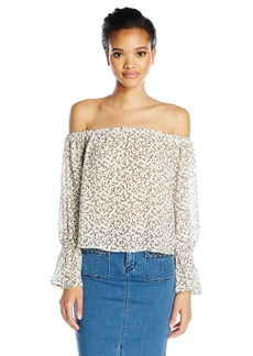 Lucca Couture Women's Off Shoulder Printed Ruffle Sleeve Top Off