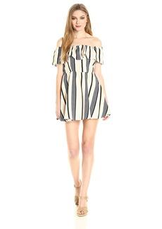 Lucca Couture Women's Off Shoulder Stripe Ruffle Dress