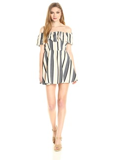 Lucca Couture Women's Off Shoulder Stripe Ruffle Dress