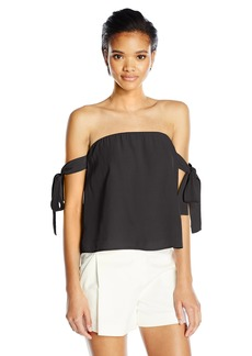 Lucca Couture Women's Off Shoulder Tie Sleeve Top