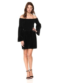 Lucca Couture Women's Off The Shoulder Velvet Babydoll Dress