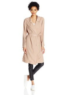 Lucca Couture Women's Open Front Belted Trench Coat
