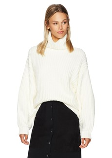 Lucca Couture Women's Patricia Turtleneck Drop Shoulder Boyfriend Sweater