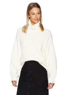 Lucca Couture Women's Patricia Turtleneck Drop Shoulder Boyfriend Sweater