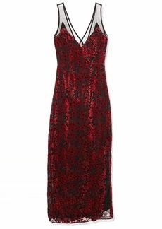 Lucca Couture Women's Penelope V Neck Mesh Inset Maxi Dress red Velvet Floral