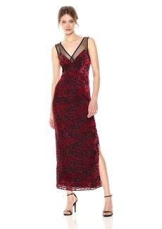 Lucca Couture Women's Penelope V Neck Velvet Floral Mesh Inset Maxi Dress