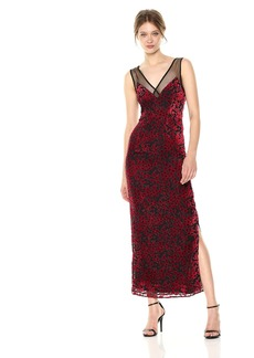 Lucca Couture Women's Penelope V Neck Velvet Floral Mesh Inset Maxi Dress red